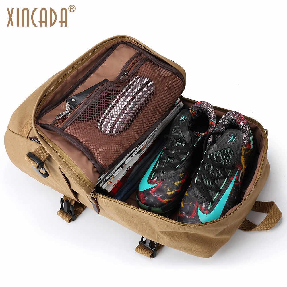 2e941d8fd47 ... XINCADA Men Backpack Vintage Canvas Backpack Rucksack Laptop Travel  Backpacks School Back Pack Shoulder Bag Bookbag ...