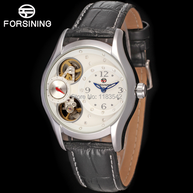 Famous brand FORSINING FSL8014Q3S4  new Quartz silver Ladies wristwatch tourbillon black leather  strap shipping  free almost famous new black tough love sweater msrp $49 00
