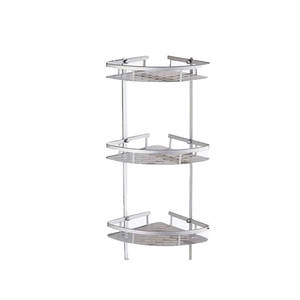 Cosmetic Shelf Space Antique Aluminum Silver Corner 3-Layers Brushed Products