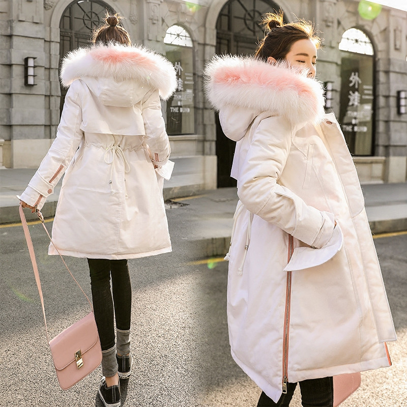 Europe 2018 Winter Jacket Women   Parka   Coats Large Fur Collar Long Sleeves Plus Size Woman Winter Coats And Jackets X105