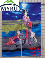 Japanese Style Creative Partition Curtain Cloth Japanese Maid Sea Wave Door Hanging Curtain
