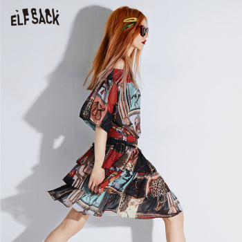 ELF SACK Sexy Slash Neck Vintage Print Women Dresses Fashion Lantern Sleeve Korean Female Dress 2019 Streetwear Casual Clothing 1
