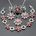 Silver Color Jewelry Sets For Women Created Red Garnet Necklace Pendant Bracelets Drop Earrings Rings Christmas Gift Free Box