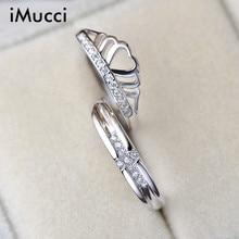 IMucci S925 Стерлингового Серебра Корона Пару Кольцо Для Женщин Танабата Мода Простой Стразы Кольца Кристалл Обручальные 3 стиль Кольцо