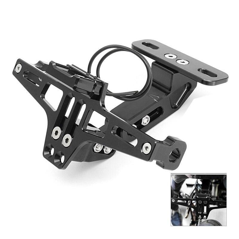 Cnc Rahmen Motorrad Lizenz Nummer Platte Halter Halterung Mit Led Licht Einstellbar Für Yamaha Bws R25 R3 Mt03 Msx