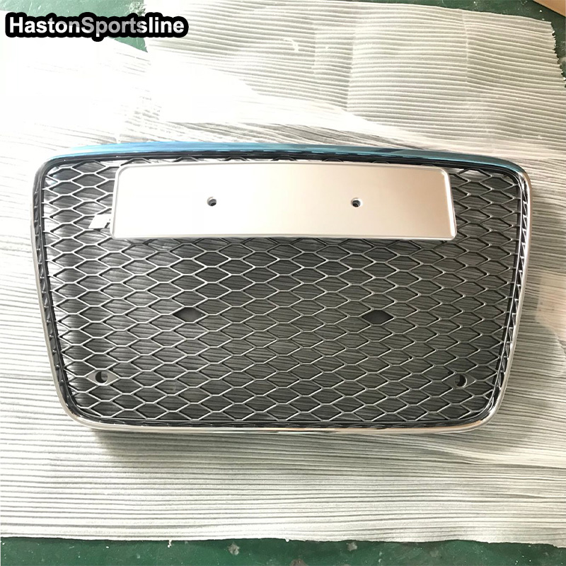Q7 Chrome Frame Silver Front Bumper Mesh Grille Guard For Audi Q7 2006-2015 RSQ7 Style цены