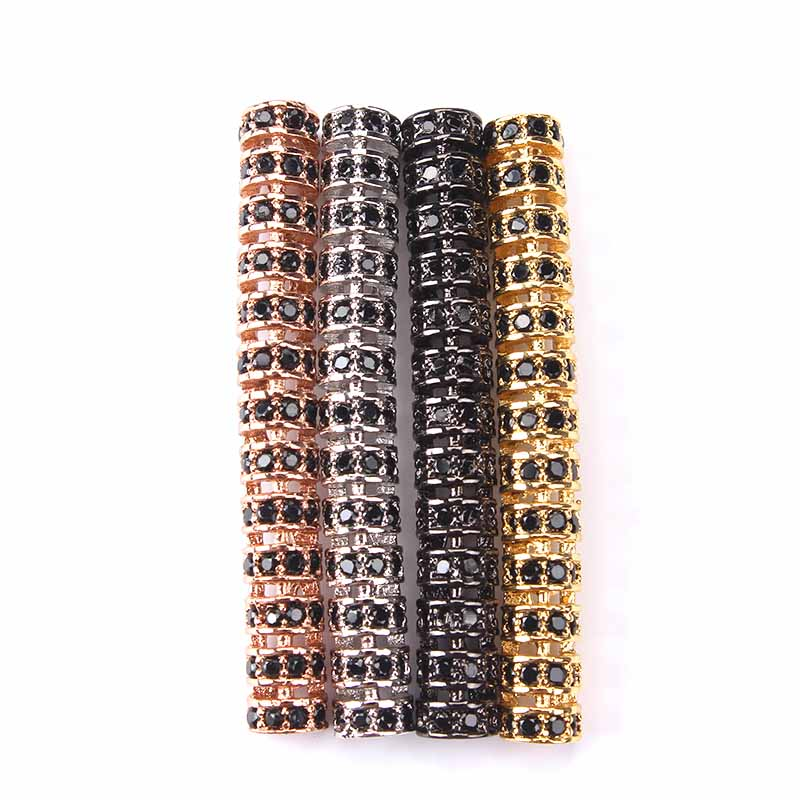 1pc 5*48mm Micro Pave Cubic Zircon Tube Jewelry Findings Components Gold Silver Black Copper DIY Jewelry Accessories
