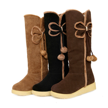 2013 Korean New Autumn And Winter Snow Boots Women'S Flat Cotton Padded Boots Female Knee High Fashion Flat Snow Shoes H1114