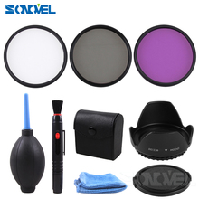 49 52 55 58 62 67 72 77MM UV CPL FLD Filter Set+Petal Flower Lens Hood+Front Lens Cap Cover+Cleaning kit  for Canon Nikon Sony