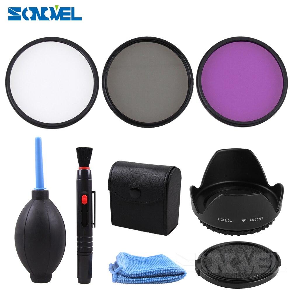 49 52 55 58 62 67 72 77mm CPL UV FLD filtro + capucha de lente de flor de pétalo + lente frontal tapa + Limpieza kit para Canon Nikon Sony