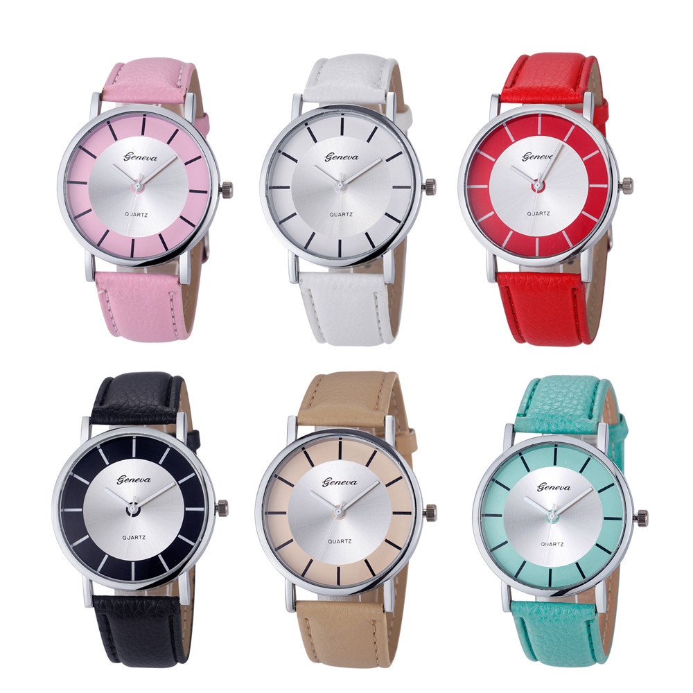 Relogio Feminino Montre Homme Geneva Women Dress Lady Watch Fashion Retro Dial Leather Analog Quartz Wrist Watch Watches women lady dress watch retro digital dial leather band quartz analog wrist watch watches for dropshipping