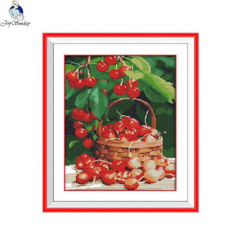 Joy sunday still life style Fresh cherries printable fabric cross stitch patterns kits for needlepoint supplies online