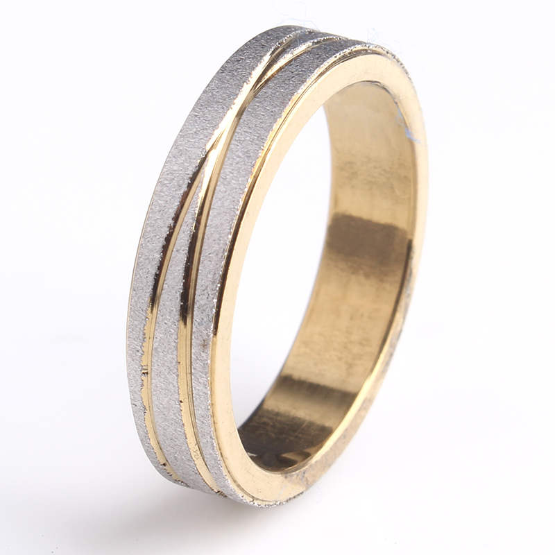 free shipping 4mm gold color Scrub Groove cross stripe 316L Stainless Steel finger rings for men women wholesale