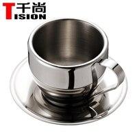 TISION 250 ml Çift duvar paslanmaz çelik kahve kupaları ve kupalar espresso fincan set çay bardağı ve tabağı