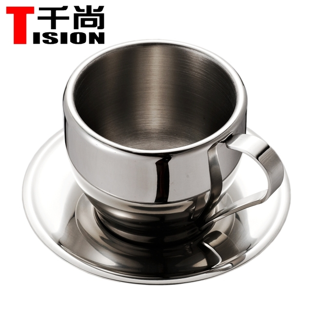 Tision 250ml Double Wall Stainless Steel Coffee Cupugs Espresso Cup Set Tea And