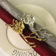 10PCS metal alloy napkin ring creative plum hotel wedding jewelry gold / silver