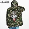 Aolamegs Camouflage Jacket Men Justin Bieber Style Rocket Embroidery Windbreaker Medium-Long Hooded Trench Coat Plus Size S-XXXL