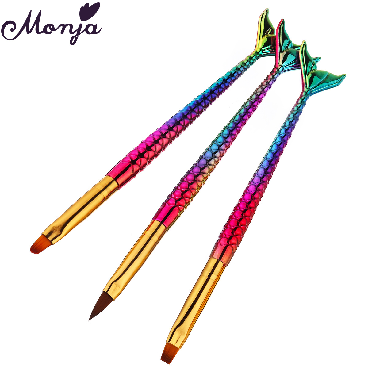 Monja 3Pcs Colorful Mermaid Handle Nail Art Acrylic UV Gel Extension Builder Painting Brush Liquid Powder Carving Drawing Pen(China)