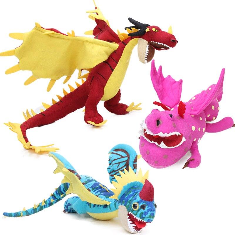 3pcs 30 35cm How to Train Your Dragon 3 Plush Toy Meatlug Stormfly Hookfang Stuffed Animal