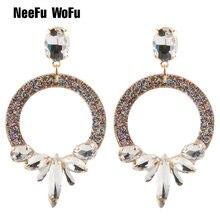 f44f2df0b6dc Neefu wofu gota larga Pendientes personalidad resina cristal marca pendiente  grande largo brinco oído Accesorios oorbellen regal.