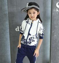 Spring Autumn Baby Girls Clothes Jacket Flower Print Sports Hoodies+Pant 2PCS /Set Suit Children Girls Clothing Sets ZFQ003 стоимость