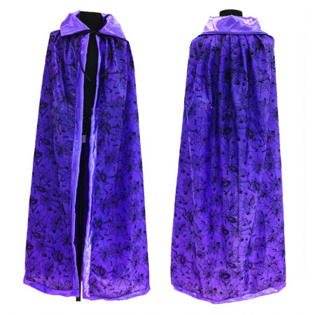 purple orange adult cosplay hooded cape carnival halloween costume dress death wizard cloak human skeleton