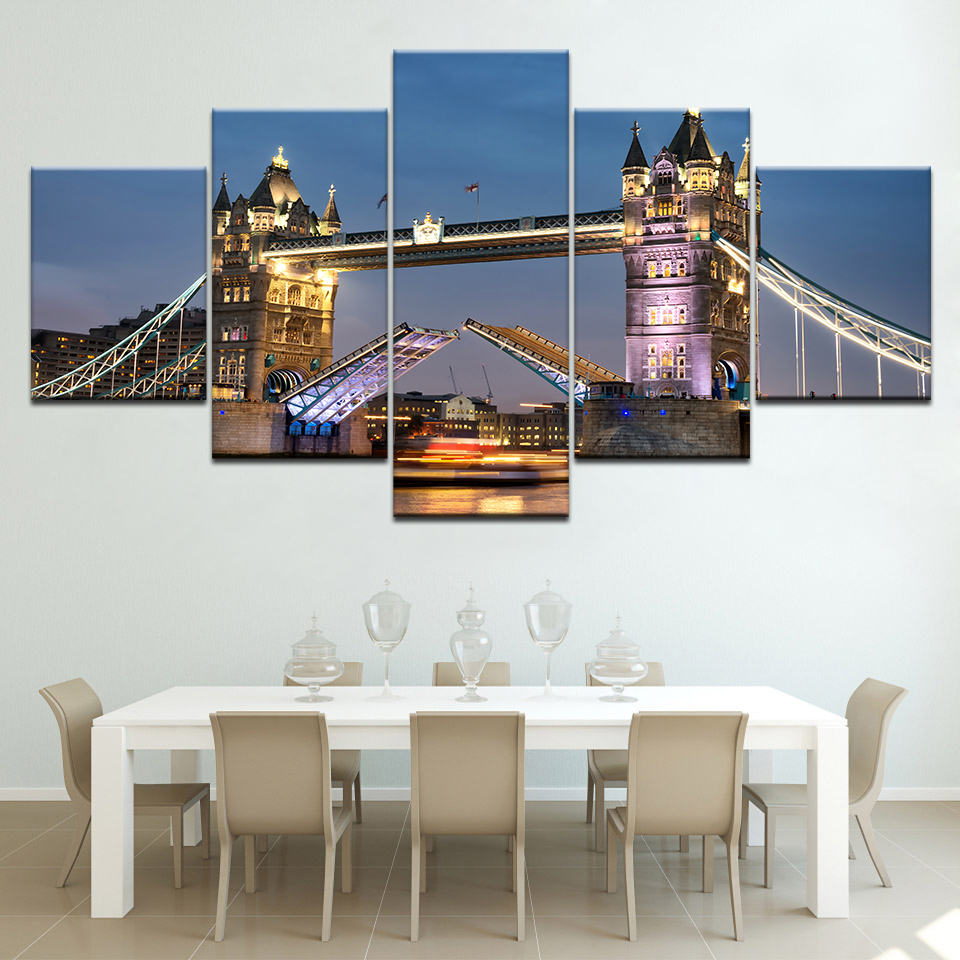 London Bridge Hot Canvas Prints 5 Pieces Painting Wall Art Home Decor Panels Modular Poster For Bed Room Decor Frame Artwork