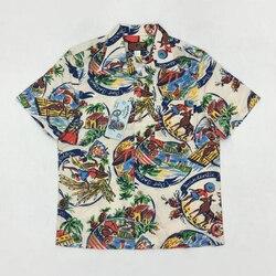 Винтажная гавайская рубашка для мужчин, 50 s, Гавайские летние топы с принтом