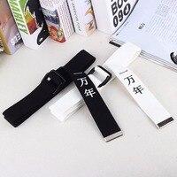 Новый Harajuku китайский письмо печати Дизайн нейлон Ремни для Для мужчин и Для женщин Кнопка Кольцо холст женский ремень cinturon mujer femme 5