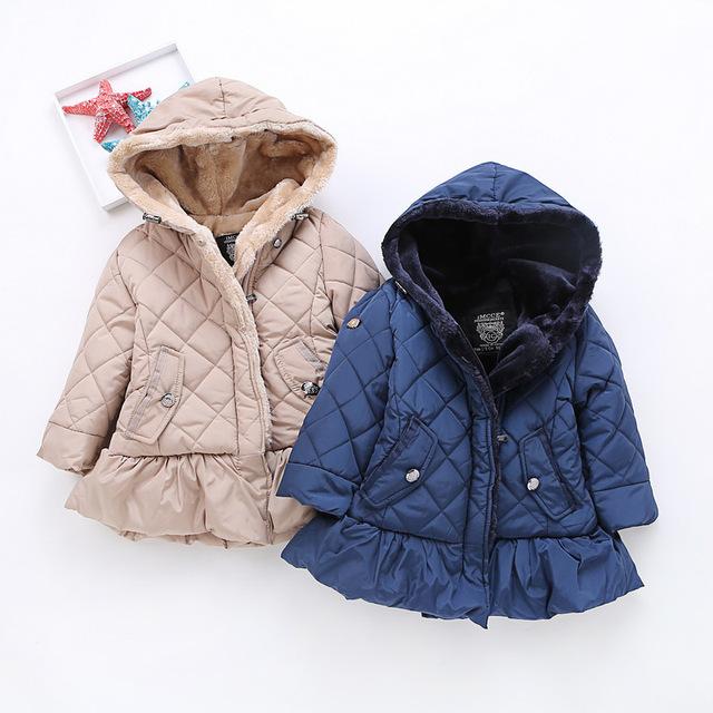 2016 Meninas de Inverno Roupas de Bebê Jaqueta de Algodão Flor de manga Longa Vestidos casacos crianças roupas Casaco Grosso Casaco Com Capuz H427