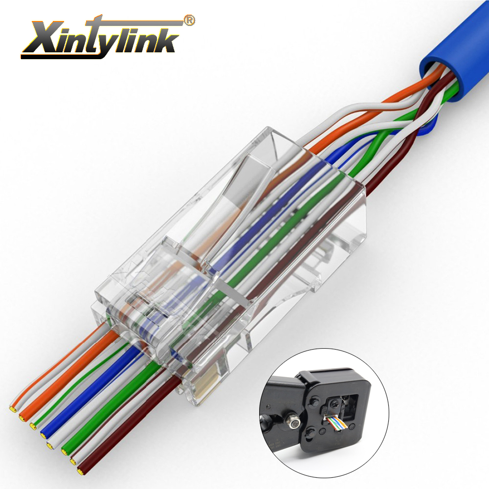 Xintylink EZ Rj45 Connector Cat6 Rj 45 Ethernet Cable Plug Cat5e Utp 8P8C Cat 6 Network Unshielded Cat5 50 100 Pcs 50U With Hole(China)