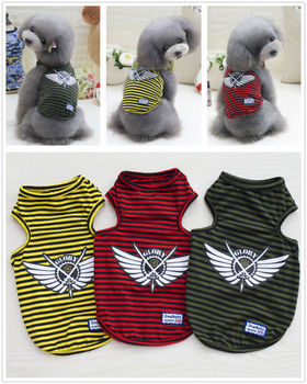 Y12 Newly design Summer Pet dog Shirt Vest clothes Fashion Puppy dog Cats Boy Breathable Striped Vest T-Shirts for Yorkshire