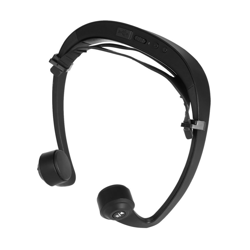 Open-ear Bone Conduction Headphones Bluetooth V4.2 Wireless Sports Headset Adjustable Stereo Ear Hook Headband Earphone with Mic