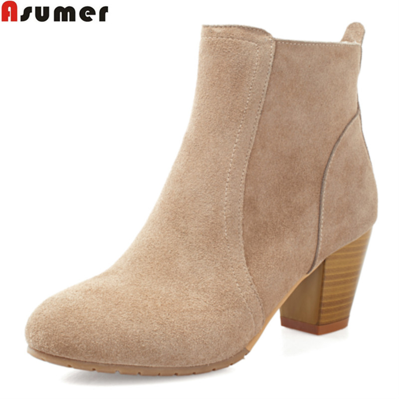 ASUMER Autumn 2017 hot sale ankle boots thick high heels round toe solid shoes high quality nubuck leather women boots