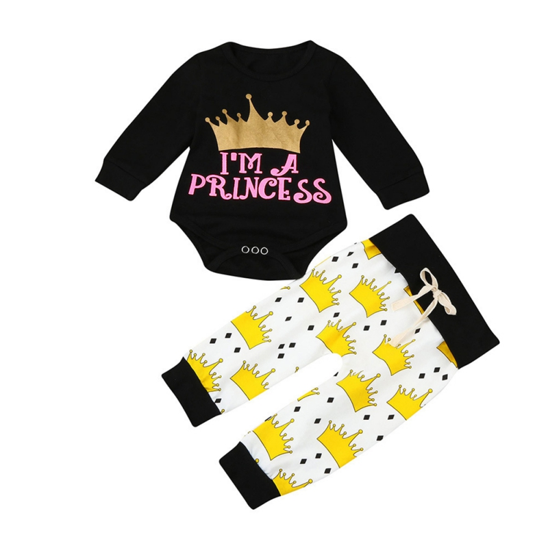 2017 Baby Girl Clothes 2pcs Clothing Sets Letter Printed Black Cotton Long-sleeved romper + trousers Newborn Clothes Hot Sale j2