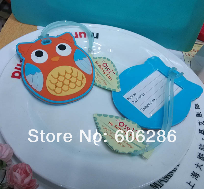 50pcs/lot cute lovely owl luggage tag wedding baby showers baptism party favors and giveaway gifts , event party supplies