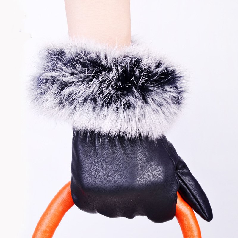 Full touch screen gloves Ms. PU leather Korean real rabbit mouth warm autumn and winter fashion plus velvet black gloves TM189 new men touch gloves autumn winter outdoor bicycle cold fashion black pu glove bag mail
