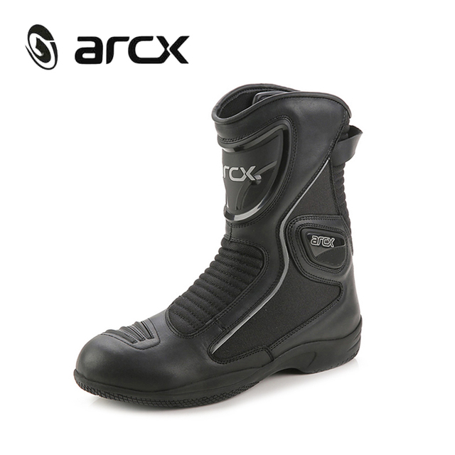 ARCX Genuine Cow Leather Motorcycle Road Racing Boots Street Moto Chopper Cruiser Touring Biker Motorbike Riding Mid-Calf Shoes