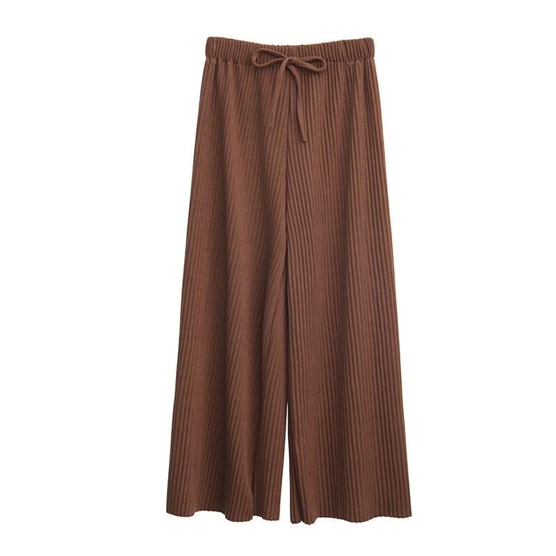 2018 Spring Women Pants New Korean Women's High-waist Pants Thread Wide Leg Pants Loose Thin Knit Women Trousers 1