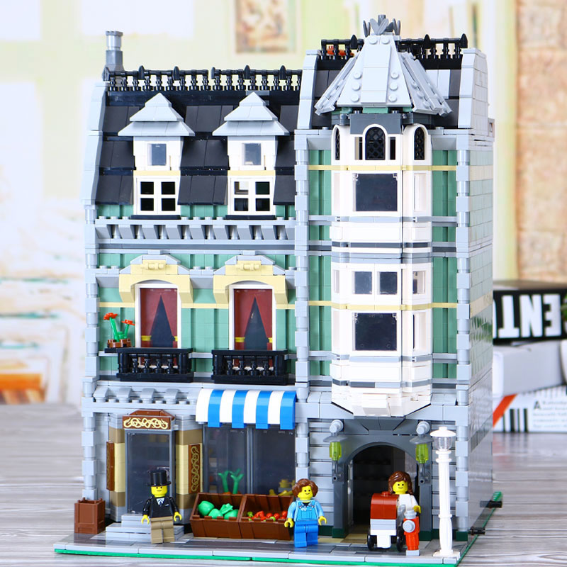 New Lepin 15008 2462Pcs City Street Green Grocer Model Building Kits Blocks Bricks Compatible Educational legolyes 10185 toys in stock 2462pcs free shipping lepin 15008 city street green grocer model building kits blocks bricks compatible 10185