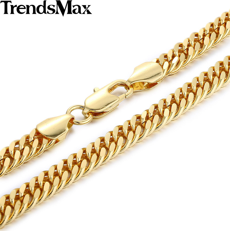 Trendsmax 7MM Wide Cut Double Curb Cuban Link Yellow Gold Filled Necklace Wholesale Dropship MENS Chain Boys Jewelry GN385