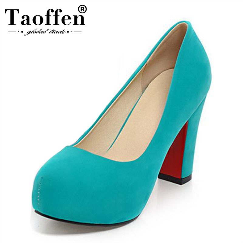 TAOFFEN Women New Spring 5 Colors Fashion Pumps Round Toe Wedding Office Ladies High Heel Shoes Women Party Pumps Size 32-43TAOFFEN Women New Spring 5 Colors Fashion Pumps Round Toe Wedding Office Ladies High Heel Shoes Women Party Pumps Size 32-43