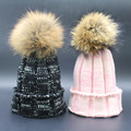 Female Winter Beanies Caps 100% Real Raccoon 15cm Fur Pompom Hats For Women