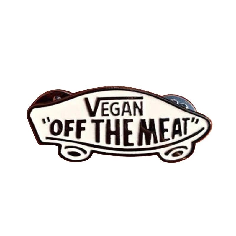 Vegan Off the Meat White Enamel Pin Vans Off the Wall Skater Punk Vegetarian Enamel Pin