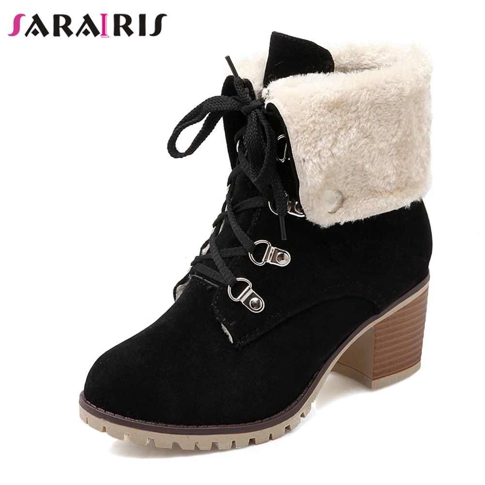 SARAIRIS Women Brand Ankle Boots Winter Plush Fur Shoes Woman Chunky Heel Platform Footwear Lace Up Snow Boots Large Size 34-43 enmayer hot new fashion round toe lace up flat ankle snow boots for women winter boots shoes large size 34 43 platform shoes