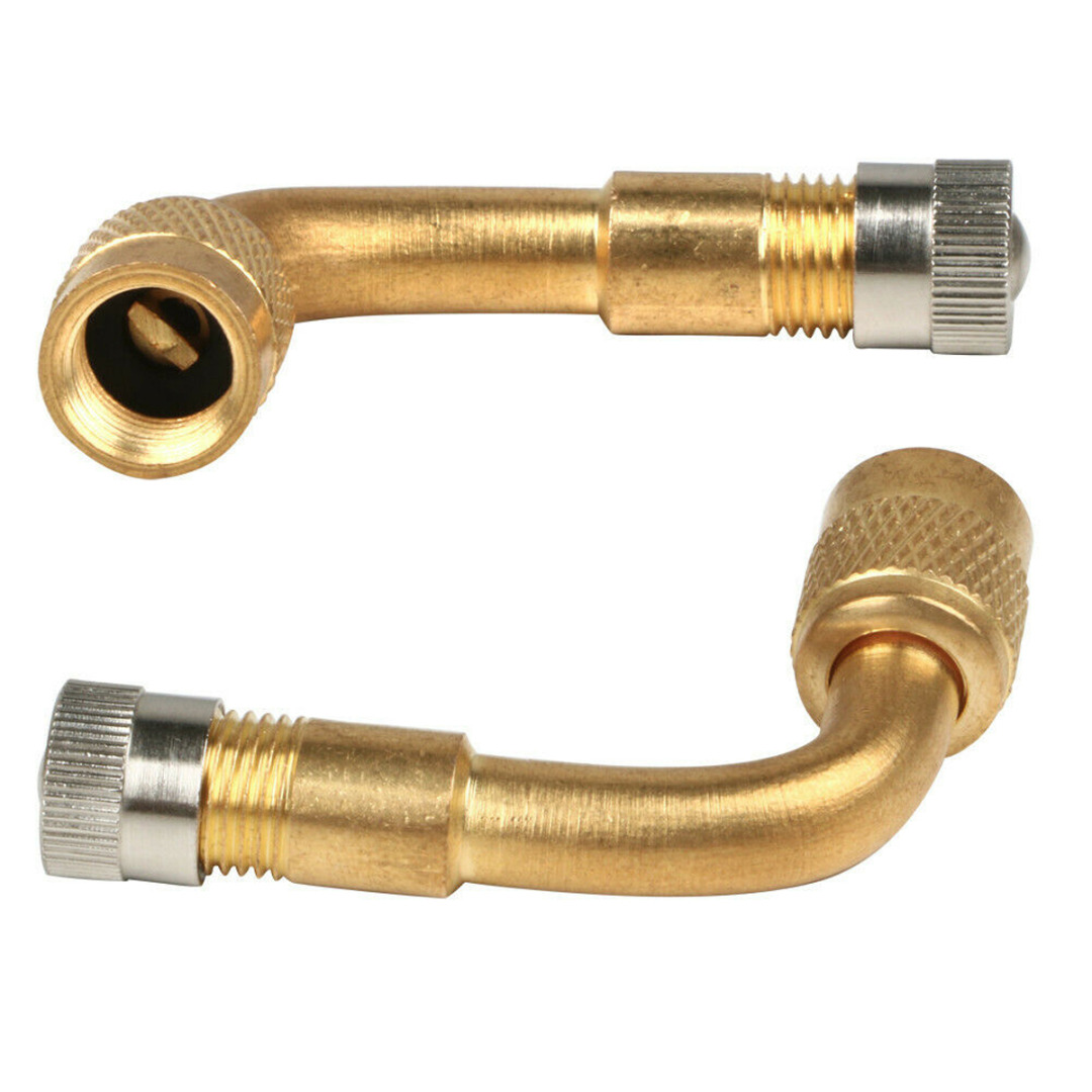 2pcs Brass Valve Extension Valve Extension Car Truck Motorcycle Wheel Tires Parts 90 Degrees Bent Metal Angle