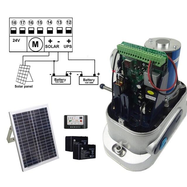 DC SOLAR POWER AUTOMATIC SLIDING DOOR GATE OPENER with 4m Nylon racks 1 flash light 1 pair of photocells 3