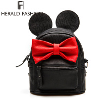 New PU Leather Girl Backpack School Bag For Teenager Small Rivet Top-handle Women Bag Mickey ears Feminina Herald Fashion