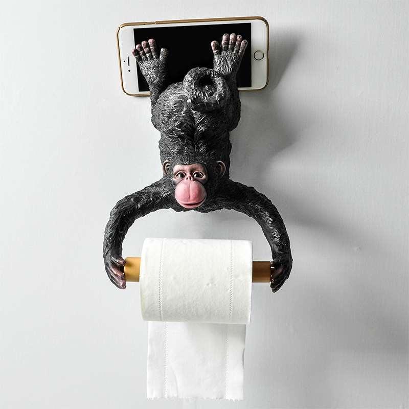 Singe distributeur rouleau titulaire Animal porte-papier hygiénique maison salle de bains tenture murale décorations R255