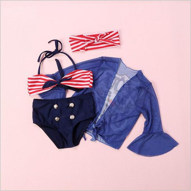 e983994b0 Foreign Swimsuit Girl Lovely Navy Striped Baby Babe Bikini Blouse Four  Piece Bathing Suit Strip Bow Hair Bands For 2-10 Years